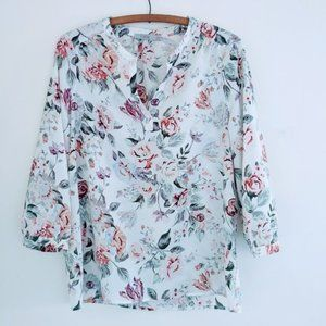 Dalia Long Sleeve Blouse Floral White Pink Small